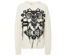 Woman Frayed Embroidered Wool Sweater Ecru