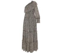 One-shoulder printed silk-chiffon maxi dress