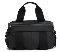 Woven-trimmed Leather Weekend Bag Black Size --