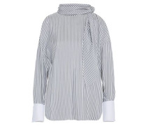 Pussy-bow Striped Silk-satin Top White