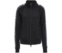Printed French Cotton-blend Terry Track Jacket Black