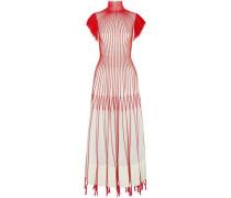 Tasseled embroidered plissé-silk midi dress