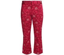 Cropped floral-jacquard bootcut pants