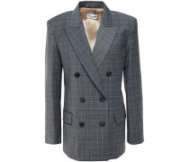 Woman Double-breasted Checked Woven Blazer Anthracite