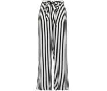 Striped Silk-satin Crepe Wide-leg Pants Black