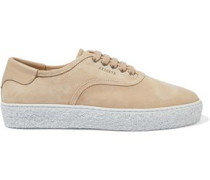 Leather-trimmed Suede Sneakers Sand