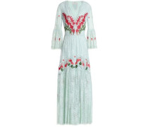 Potion paneled embroidered lace and organza maxi dress