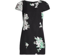 Floral-print cotton-blend faille mini dress