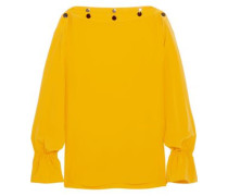 Studded silk crepe de chine blouse