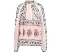 Printed Silk-chiffon Blouse Pastel Pink
