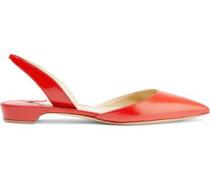 Rhea leather slingback point-toe flats