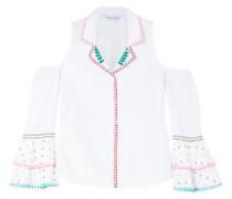 Palmas Cold-shoulder Embroidered Poplin Shirt White
