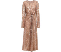 Woman Pinwheel Twisted Sequined Georgette Dress Copper