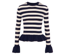 Claudia Striped Stretch-wool Peplum Sweater Midnight Blue