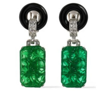 Silver-tone crystal and resin clip earrings