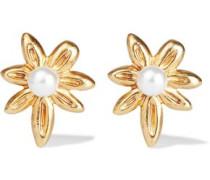 Woman Gold-tone Faux Pearl Earrings Gold