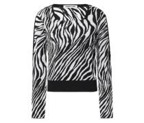 Zebra-print Jacquard-knit Sweater Black
