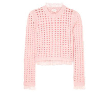 Woman Point D'esprit-trimmed Open-knit Wool-blend Sweater Baby Pink