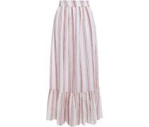 Serifos Gathered Striped Cotton-gauze Maxi-skirt Brick