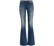 Distressed faded mid-rise flared jeans