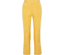 Oboe Cropped Silk And Wool-blend Moire Straight-leg Pants Marigold Size 12