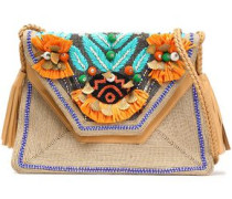 Embellished Woven And Leather Shoulder Bag Sand Size --