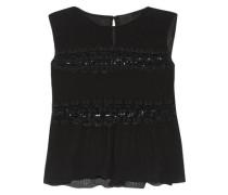 Lace-paneled plissé-chiffon top