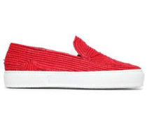 Raffia Slip-on Sneakers Red