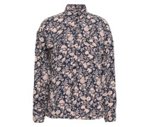 Floral-print Crepe Turtleneck Shirt Midnight Blue
