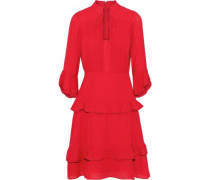 Ruffle-trimmed pintucked crepe dress