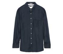 Nassau & Manhattan Lace-up Tencel-chambray Shirt Dark Denim