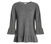 Mélange wool and cashmere-blend peplum top