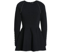Faux Pearl-embellished Stretch-knit Peplum Top Black