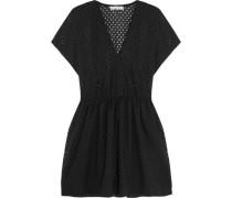 Genna Broderie Anglaise Cotton-blend Mini Dress Black