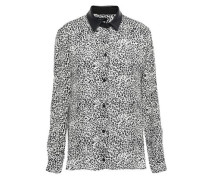 Leather-trimmed Leopard-print Silk-crepe Shirt Animal Print