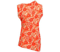 Woman Asymmetric Floral-jacquard Top Bright Orange