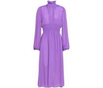 Shirred Crepe De Chine Midi Dress Lavender