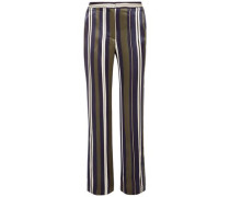 Striped Satin-twill Straight-leg Pants Multicolor