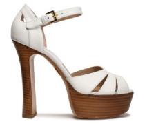 Cutout leather platform sandals