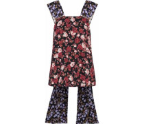 Faux pearl-embellished floral-print twill top