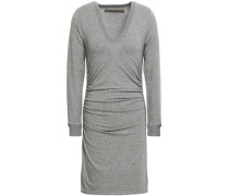 Stretch Cotton And Cashmere-blend Mini Dress Gray
