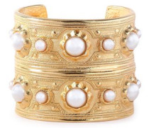 24-karat Gold-plated Faux Pearl Cuff Gold Size --