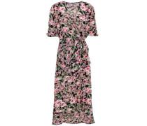 Wrap-effect Floral-print Ruched Chiffon Dress Multicolor Size 0