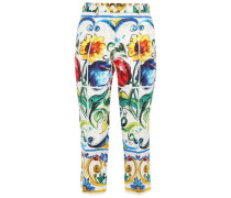 Cropped Printed Cotton-blend Jacquard Tapered Pants White