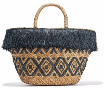 Lillian fringed embroidered woven straw tote