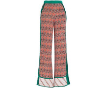 Printed Silk Crepe De Chine Wide-leg Pants Orange