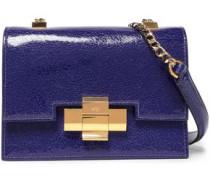 Cracked Glossed-leather Shoulder Bag Indigo Size --