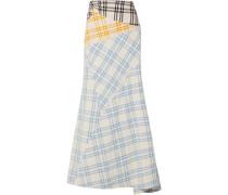 Checked cotton maxi skirt