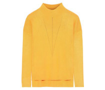 Morgan Pointelle-trimmed Stretch-knit Sweater Yellow