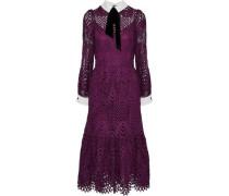 New Moon velvet-trimmed corded lace midi dress
